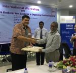 A token of appreciation from Chief Election Commissioner K. M. Nurul Huda to the International IDEA team, Dhaka, Bangladesh, 17 May 2017 [Photo: Sead Alihodzic/International IDEA]