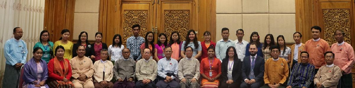Members and staff of the Joint Public Accounts Committee of the Myanmar Parliament who participated at the democratic accountability workshop.