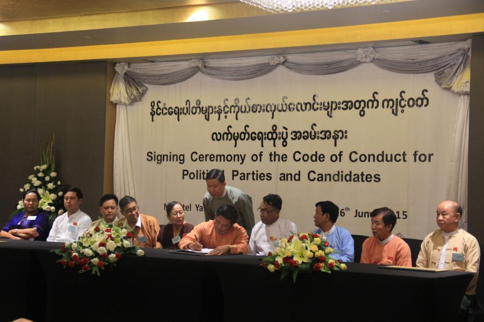 Myanmar Signing Ceremony of the Code of Conduct for Political Parties and Candidates Yangon June 2015