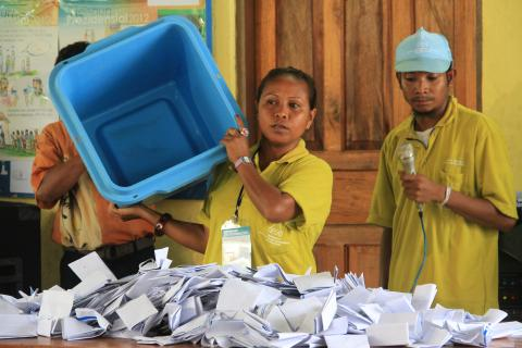 Vote counting for the 2012 Timor-Leste presidential elections at a polling station in Dili. Photo Credit: Sandra Magno/ UNDP Flickr.