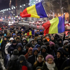 Street protest in Bucharest, Romania, 2017