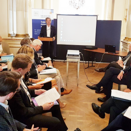 Keynote Address by Mr. Jo Leinen, Member of the European Parliament. Photo credit: International IDEA
