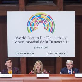 The Secretary-General during the high-level plenary panel discussion at the annual World Forum for Democracy. Photo credit: COE.