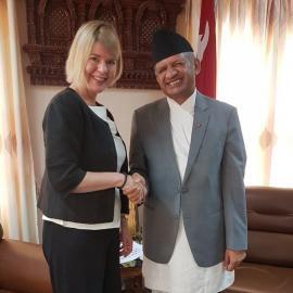 Minister for Foreign Affairs of Nepal, Hon Pradeed Kumar Gyawali with Ms Leena Rikkilä Tamang. Photo credit: International IDEA.