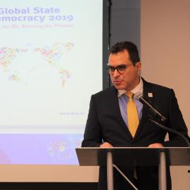 Dr Kevin Casas-Zamora, Secretary-General of International IDEA during the launch of the Global State of democracy Report in Washington, DC. on 13 December 2019. Image credit: Inter-American Dialogue@Flickr.