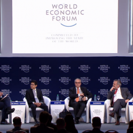 """International IDEA's Latin America and the Caribbean RegionalDirector, Daniel Zovatto, seated (center) among panelists of the """"Fighting corruption: The new way forward session"""" at the World Economic Forum in Argentina."""