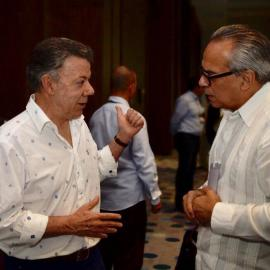 Colombian President and Nobel Peace Laureate Juan Manuel Santos with Daniel Zovatto